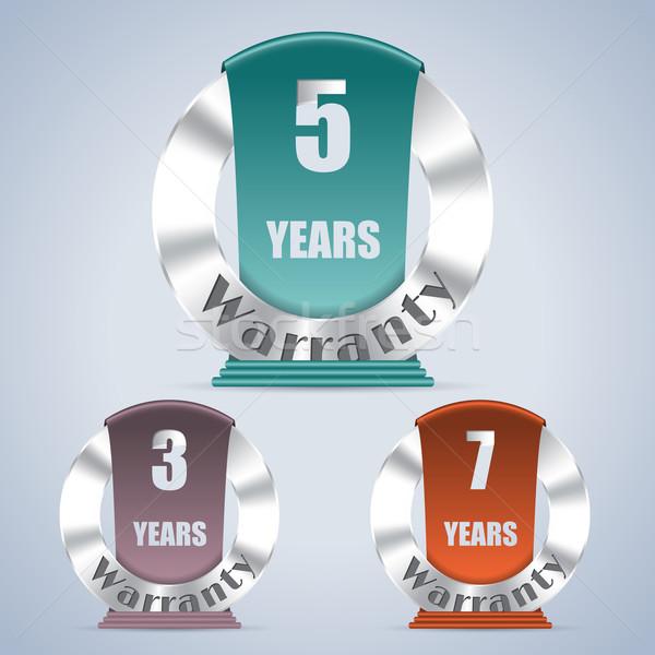 Seven five and three year warranty badges Stock photo © vipervxw