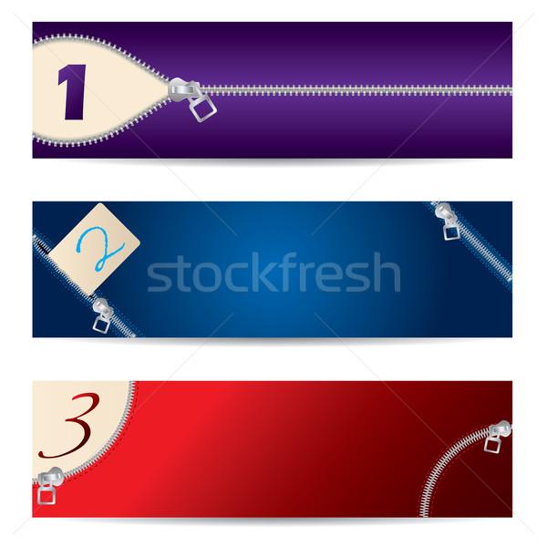 új szett cipzár bannerek színes terv Stock fotó © vipervxw