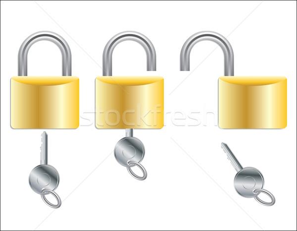 Open and closed padlocks with key Stock photo © vipervxw