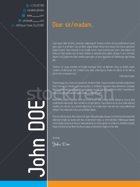 Modern cover letter resume with simplistic elements Stock photo © vipervxw