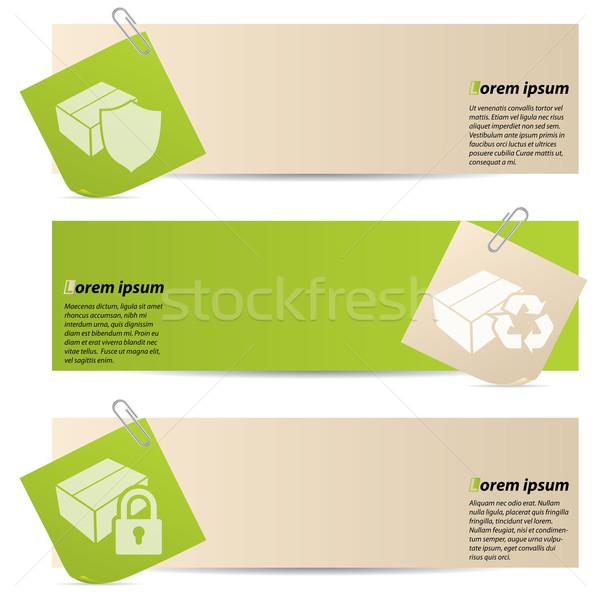 Banners bevestigd papier vak groene winkel Stockfoto © vipervxw