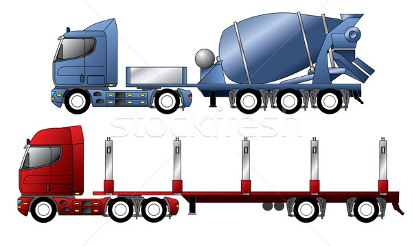 Trucks with mixer and timber trailer  Stock photo © vipervxw