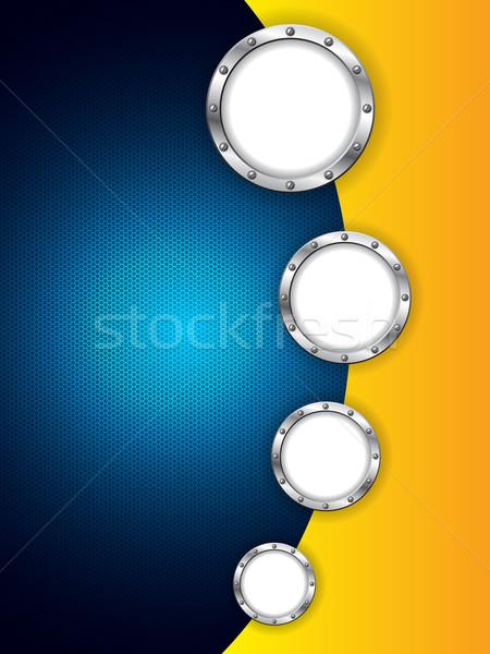 Absztrakt terv hatszög háló fémes gyűrűk Stock fotó © vipervxw