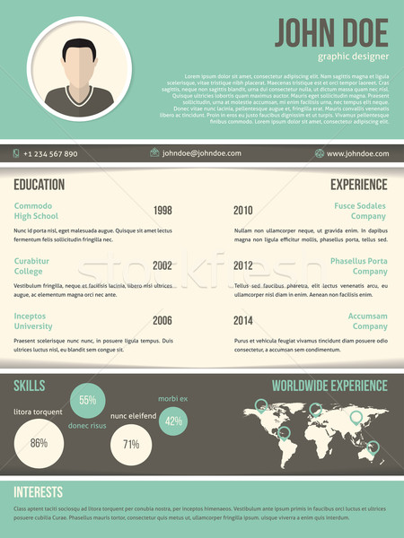 Cool resume cv design with dark and light contrast Stock photo © vipervxw