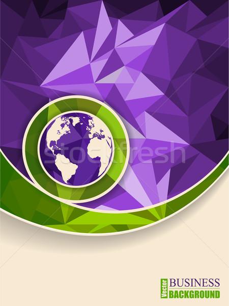 抽象的な 緑 紫色 パンフレット デザイン 世界 ストックフォト © vipervxw