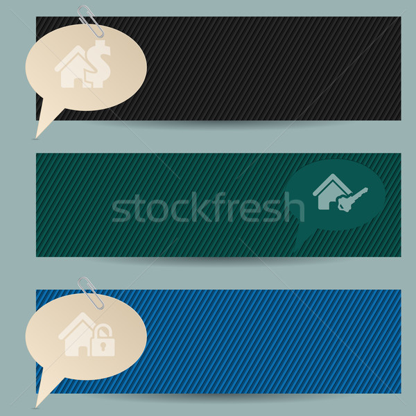 Banners adjunto luz papel casa Foto stock © vipervxw