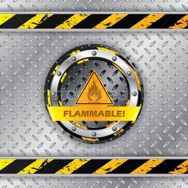 Gyúlékony figyelmeztető jel fémes tányér tűz építkezés Stock fotó © vipervxw