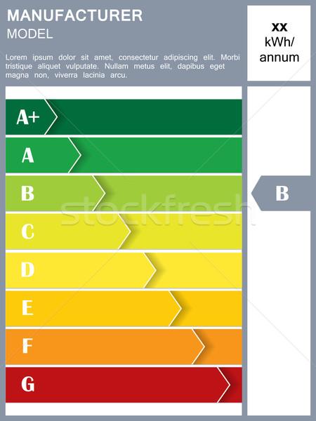 Eficiência energética tabela amostra texto casa verde Foto stock © vipervxw