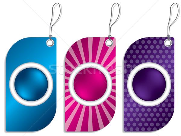 Buttoned label set Stock photo © vipervxw
