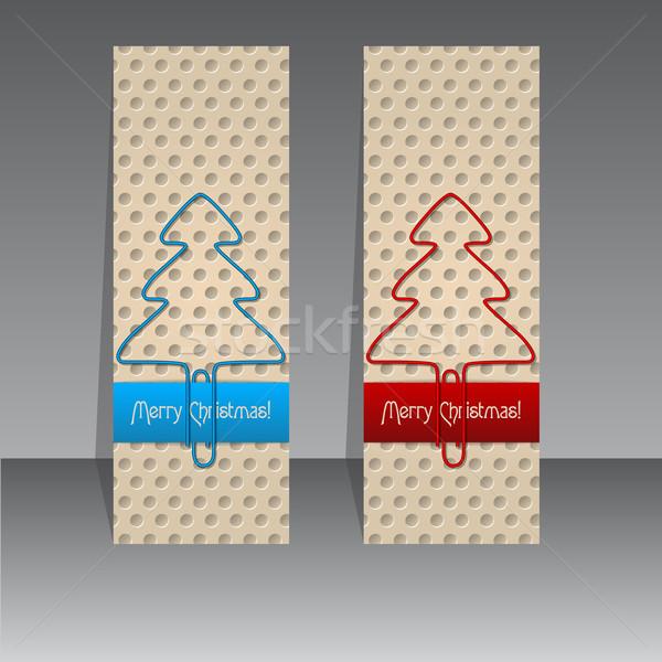 Christmas etykiety projektu spinacz drzew niebieski Zdjęcia stock © vipervxw