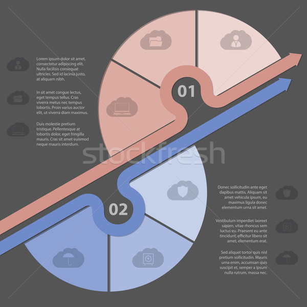 Infographic design with various cloud icons Stock photo © vipervxw