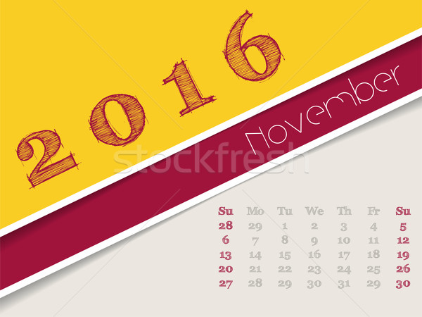 Simplistic november 2016 calendar design Stock photo © vipervxw