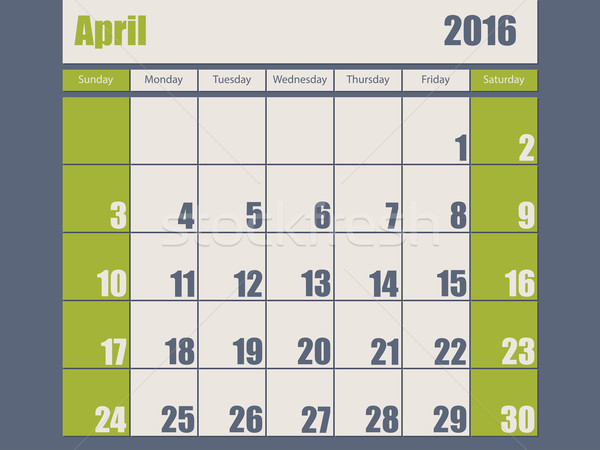 Blue green colored 2016 april calendar Stock photo © vipervxw