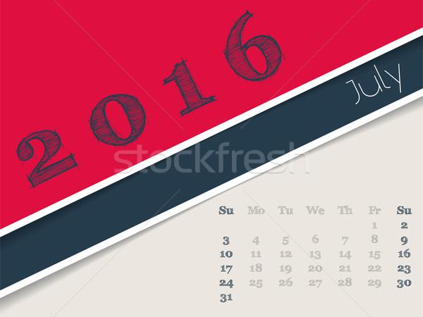 Simplistic july 2016 calendar design Stock photo © vipervxw