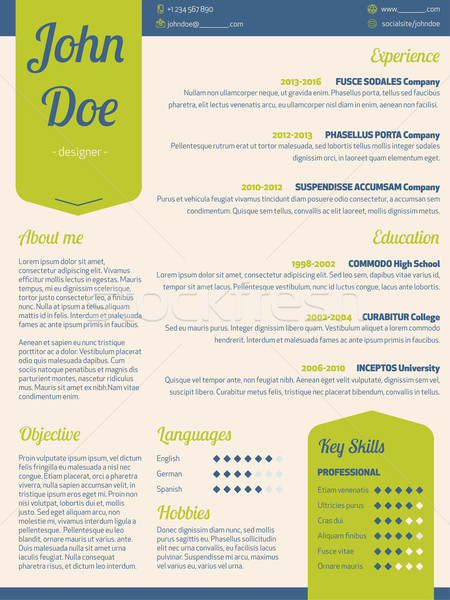 Modern resume cv with green ribbon Stock photo © vipervxw