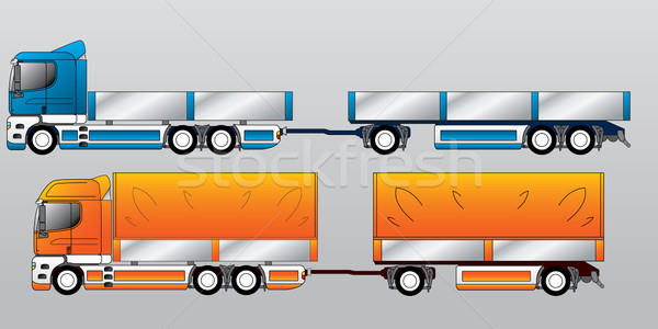 Truck with two and three axle trailers  Stock photo © vipervxw