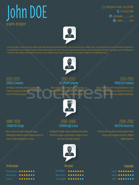 Cool resume cv template with speech bubbles Stock photo © vipervxw