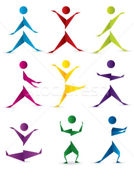 Origami emberek mozgás absztrakt különböző színek Stock fotó © vipervxw