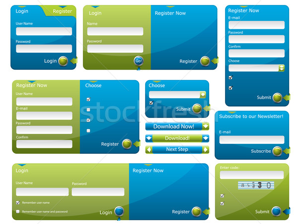 Blue and green web form template  Stock photo © vipervxw