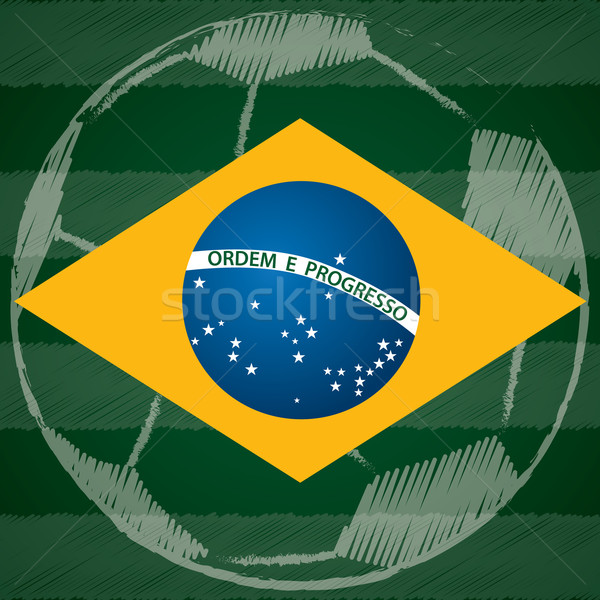 Abstract poster design with Brasil flag Stock photo © vipervxw