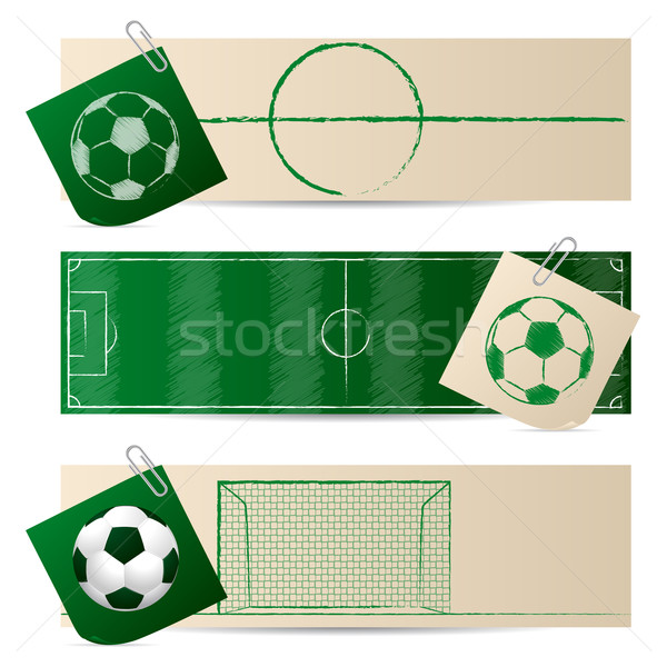 Label set of three with soccer elements Stock photo © vipervxw