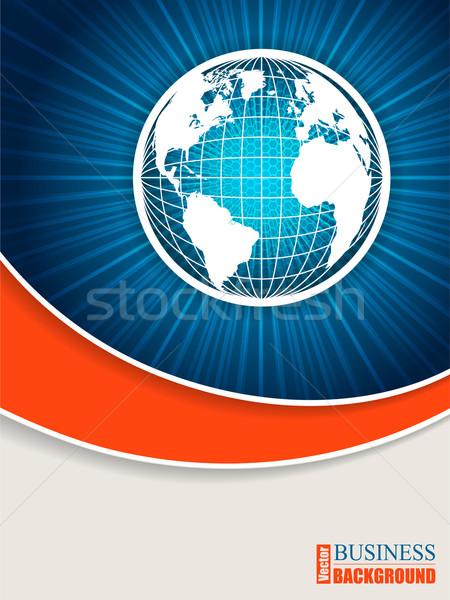 Mondo brochure design blu arancione onda Foto d'archivio © vipervxw