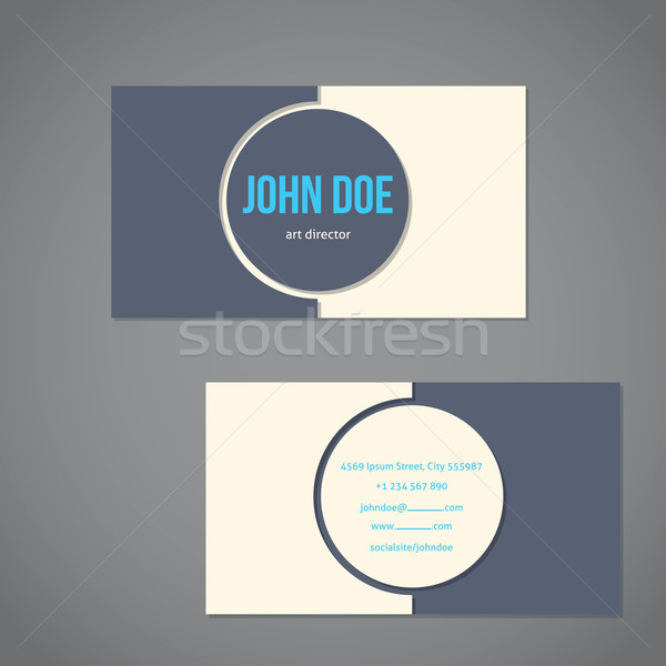 Simplistic flat business card with big gray and blue text Stock photo © vipervxw
