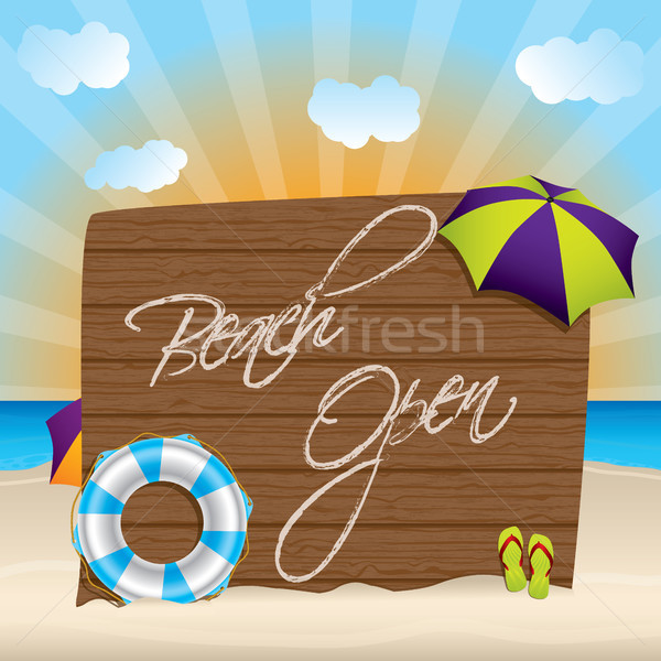 Summer background with beach open sign Stock photo © vipervxw