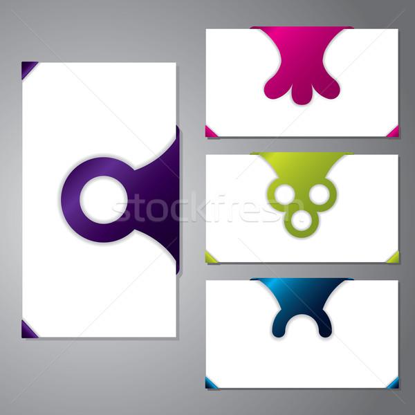 Stock fotó: Különböző · névjegy · alakú · iroda · papír · kapcsolat
