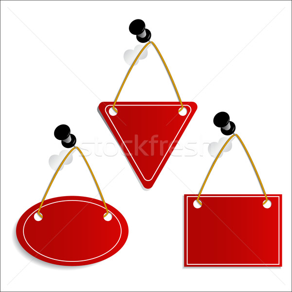 Stock photo: Label hanging on push-pin
