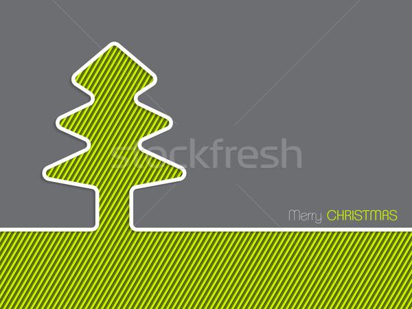Christmas greeting card with striped christmas tree Stock photo © vipervxw