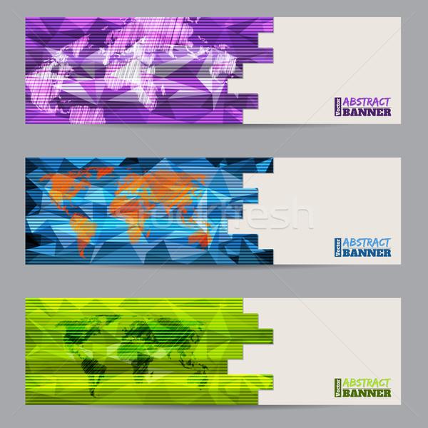 Cool banner zestaw trzy streszczenie Zdjęcia stock © vipervxw