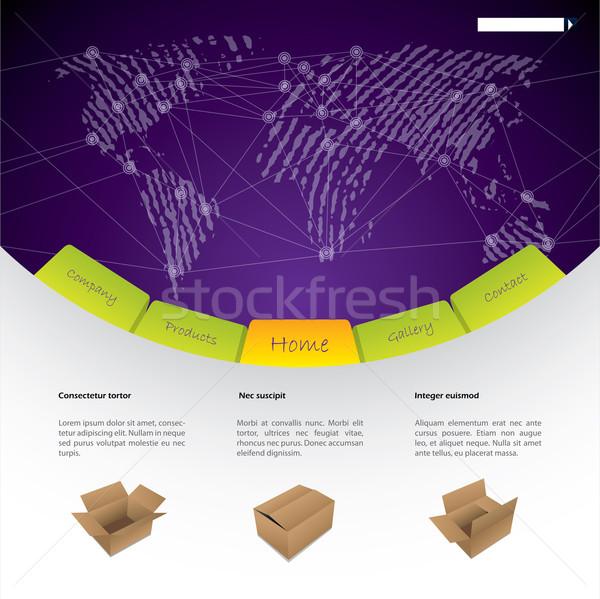 Wereldwijd scheepvaart website sjabloon ontwerp opties Stockfoto © vipervxw