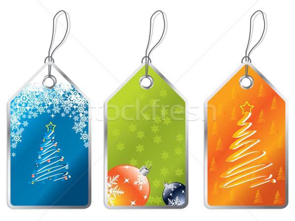Stock fotó: Karácsony · címkék · címke · szett · kék · kártya