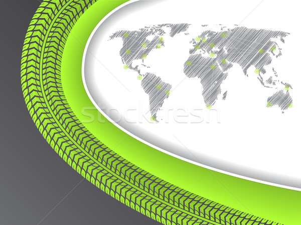 Business brochure with world map in green with tire tread Stock photo © vipervxw