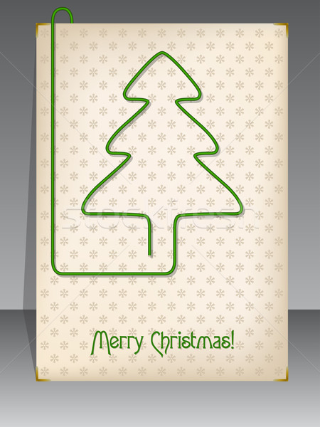 Christmas card with christmas tree shaped paper clip Stock photo © vipervxw
