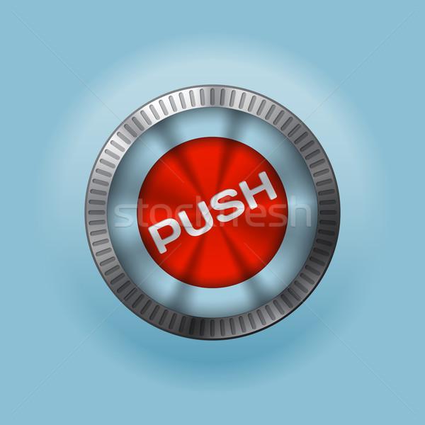 Shiny metallic  button with push text Stock photo © vipervxw