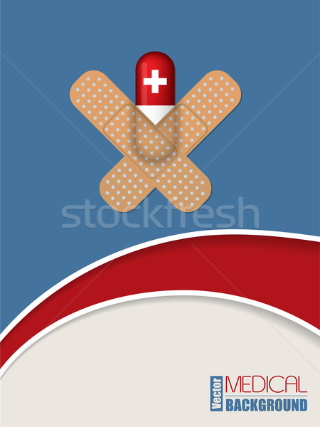 Capsule sticked to blue background with plasters Stock photo © vipervxw