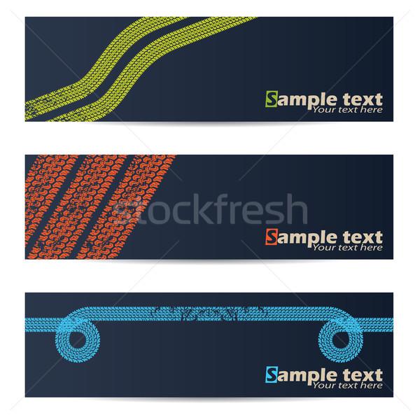 Cool tire track design banners Stock photo © vipervxw