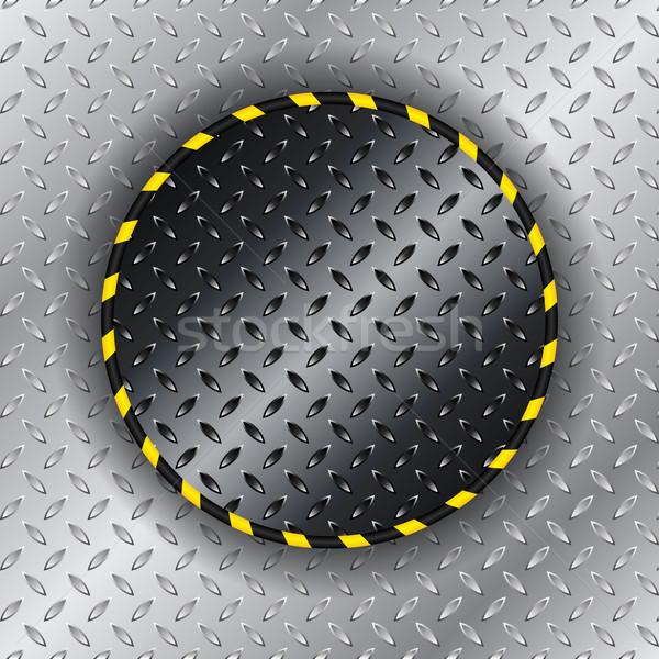 Stock photo: Industrial background with yellow striped circle