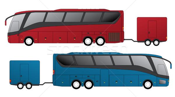 Turísticos autobús adjunto diseno vista lateral ciudad Foto stock © vipervxw