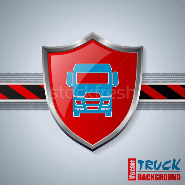 Cool camion badge rayé bar pneu Photo stock © vipervxw