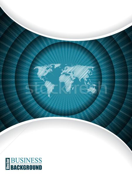 Iş broşür şablon dünya haritası dalgalanma dizayn Stok fotoğraf © vipervxw