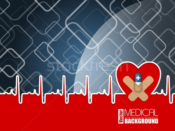 Medical background with ekg heart and blue pill Stock photo © vipervxw