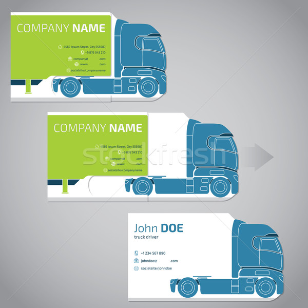 Two piece business card with truck and trailer Stock photo © vipervxw