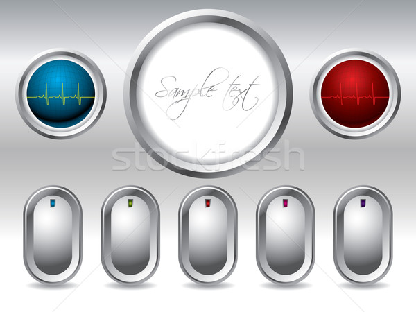 Cool buttons with display and ekg buttons  Stock photo © vipervxw
