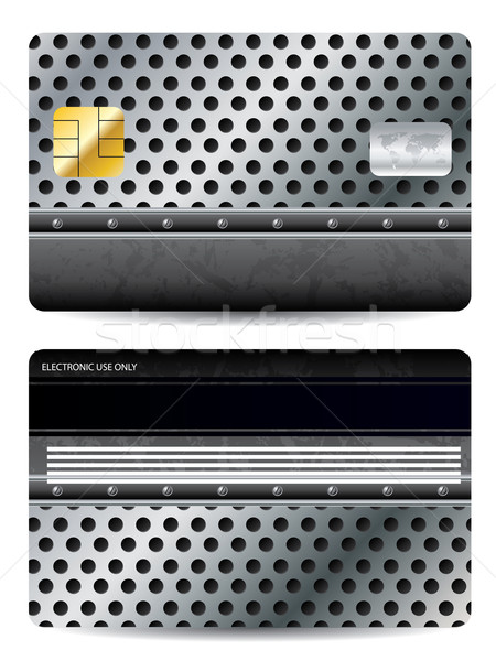 Credit card design with metal background Stock photo © vipervxw