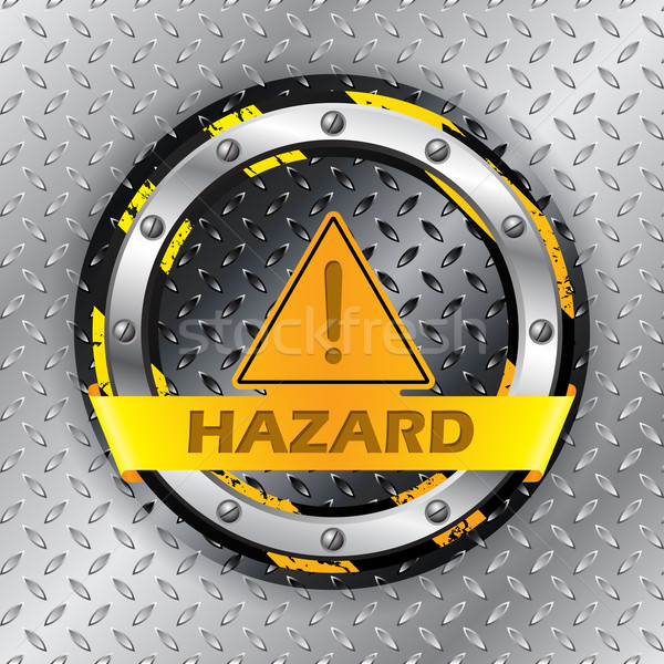 Universal warning sign on metallic plate Stock photo © vipervxw