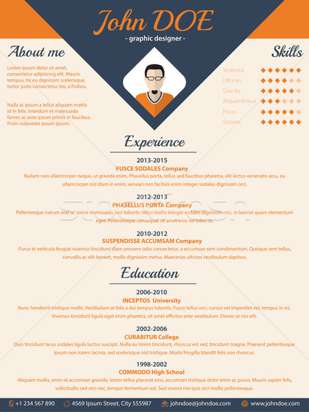 Blue arrow cv resume curriculum vitae template Stock photo © vipervxw