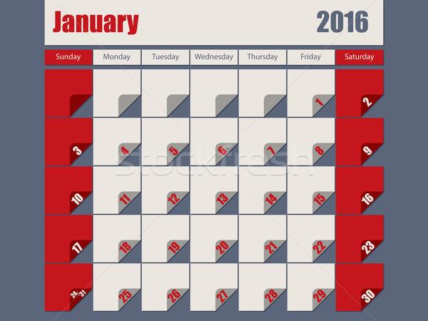 Gri kırmızı renkli 2016 takvim dizayn Stok fotoğraf © vipervxw